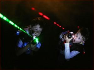 Lasertag Spieler Rot Grün