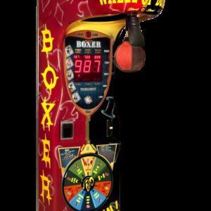 Arcade-Boxer mit einem Glücksrad, das verschiedene programmierbare Events, wie Freispiele auslost