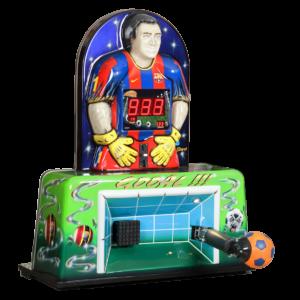 Fußballautomat als Einzelaufsteller. Kraftmessung des Schusses